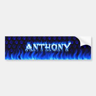 Fuego de Anthony y diseño azules de la pegatina pa Pegatina Para Auto