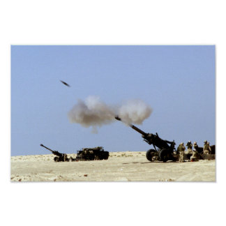 Fuego de artillería póster