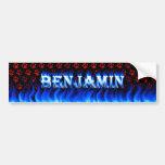 Fuego de Benjamin y desig azules de la pegatina pa Pegatina De Parachoque