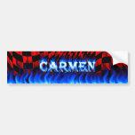 Fuego de Carmen y diseño azules de la pegatina par Etiqueta De Parachoque