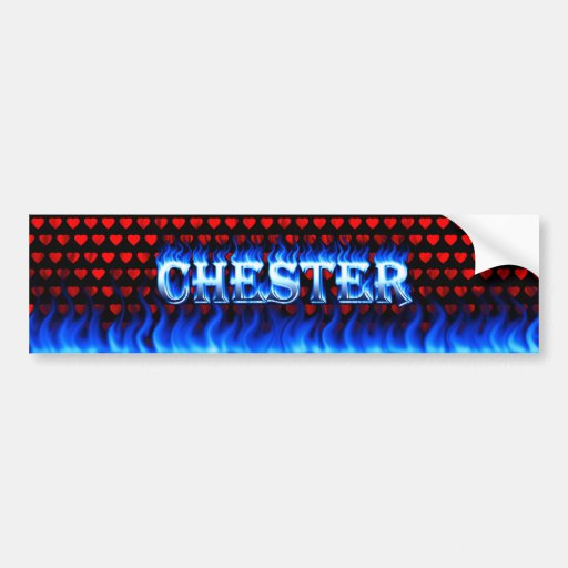 Fuego de Chester y diseño azules de la pegatina pa Etiqueta De Parachoque