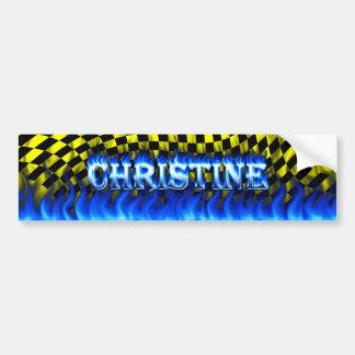 Fuego de Christine y desi azules de la pegatina pa Pegatina Para Auto