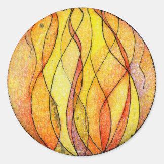 Fuego de cuatro elementos pegatina redonda