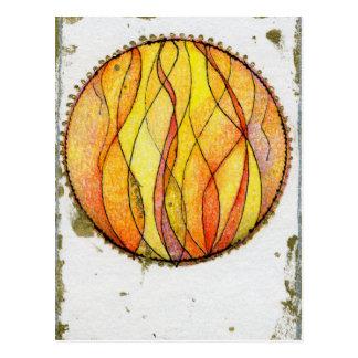 Fuego de cuatro elementos tarjeta postal