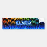Fuego de Elmer y diseño azules de la pegatina para Etiqueta De Parachoque