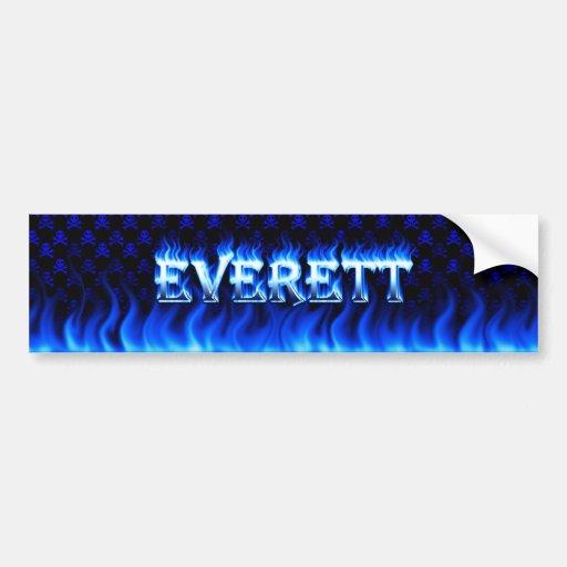 Fuego de Everett y diseño azules de la pegatina pa Etiqueta De Parachoque
