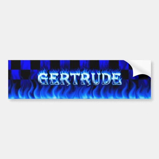 Fuego de Gertrudis y desig azules de la pegatina p Pegatina De Parachoque