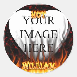 Fuego de Guillermo y mármol calientes del rojo de Pegatina Redonda