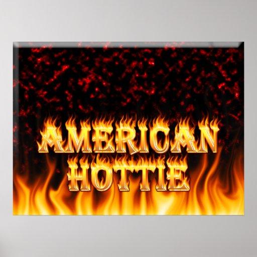 Fuego de Hottie del americano y mármol del rojo de Poster