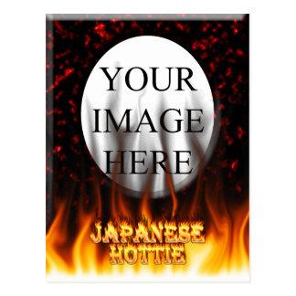 Fuego de Hottie del japonés y mármol del rojo de l Tarjeta Postal