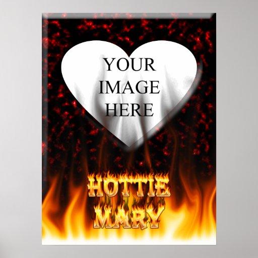 Fuego de Hottie Maria y mármol del rojo de las lla Póster