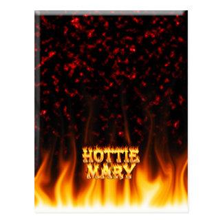 Fuego de Hottie Maria y mármol del rojo de las lla Tarjeta Postal