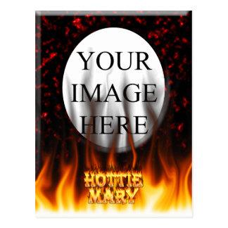 Fuego de Hottie Maria y mármol del rojo de las lla Tarjetas Postales