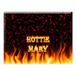 Fuego de Hottie Maria y mármol del rojo de las lla Postal