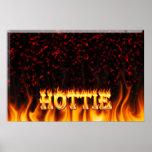 Fuego de Hottie y mármol del rojo de las llamas Poster