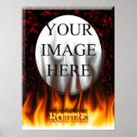 Fuego de Hottie y mármol del rojo de las llamas Posters