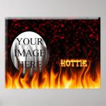 Fuego de Hottie y mármol del rojo de las llamas Impresiones