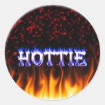 Fuego de Hottie y mármol del rojo de las llamas Etiquetas Redondas