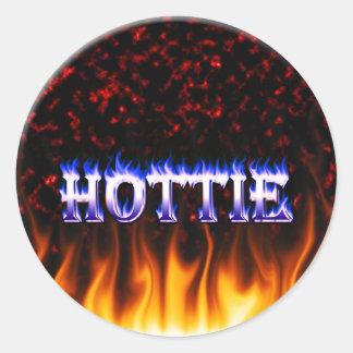 Fuego de Hottie y mármol del rojo de las llamas Pegatina Redonda