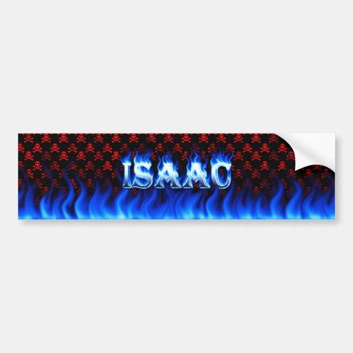 Fuego de Isaac y diseño azules de la pegatina para Etiqueta De Parachoque