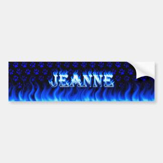 Fuego de Jeanne y diseño azules de la pegatina par Etiqueta De Parachoque