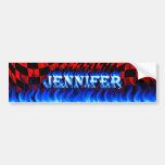 Fuego de Jennifer y desig azules de la pegatina pa Pegatina De Parachoque