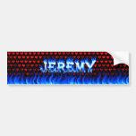 Fuego de Jeremy y diseño azules de la pegatina par Etiqueta De Parachoque