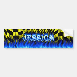 Fuego de Jessica y diseño azules de la pegatina pa Pegatina Para Auto