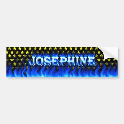 Fuego de Josephine y desi azules de la pegatina pa Pegatina De Parachoque