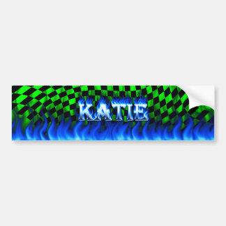 Fuego de Katie y diseño azules de la pegatina para Pegatina De Parachoque