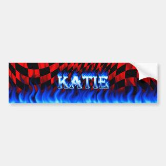 Fuego de Katie y diseño azules de la pegatina para Etiqueta De Parachoque
