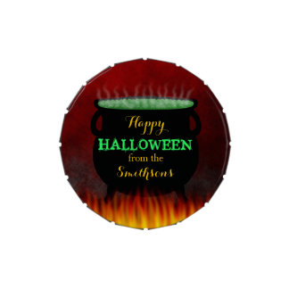Fuego de la caldera del feliz Halloween Jarrones De Caramelos