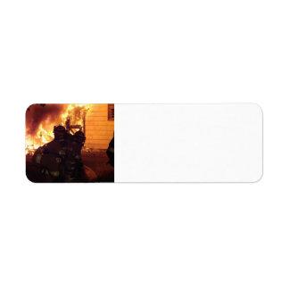 Fuego de la estructura etiquetas de remite