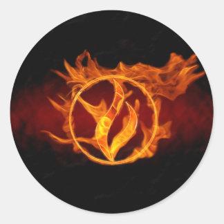 Fuego de la foto etiquetas redondas