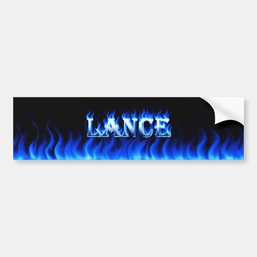 Fuego de la lanza y diseño azules de la pegatina p pegatina de parachoque