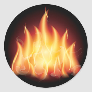 Fuego de la llama de la hoguera etiqueta redonda