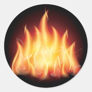 Fuego de la llama de la hoguera pegatina redonda