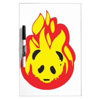 fuego de la llama de la panda pizarras blancas