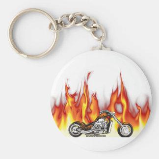 Fuego de la motocicleta llavero redondo tipo pin