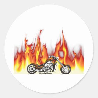 Fuego de la motocicleta pegatinas redondas