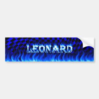 Fuego de Leonard y diseño azules de la pegatina pa Pegatina De Parachoque