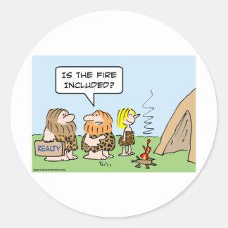fuego de los bienes raices del hombre de las caver etiqueta
