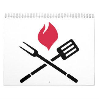 Fuego de los cubiertos del Bbq Calendario