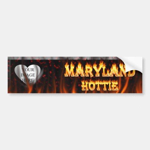 Fuego de Maryland Hottie y corazón de mármol rojo Pegatina Para Auto