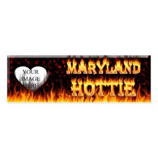 Fuego de Maryland Hottie y corazón de mármol rojo Tarjetas De Visita Mini