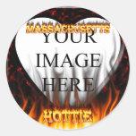 Fuego de Massachusetts Hottie y corazón de mármol Etiqueta Redonda