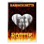 Fuego de Massachusetts Hottie y corazón de mármol  Tarjeta