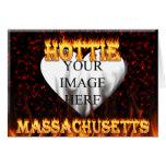 Fuego de Massachusetts Hottie y corazón de mármol  Tarjeton