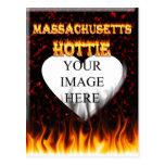 Fuego de Massachusetts Hottie y corazón de mármol  Postales