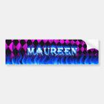 Fuego de Maureen y diseño azules de la pegatina pa Etiqueta De Parachoque